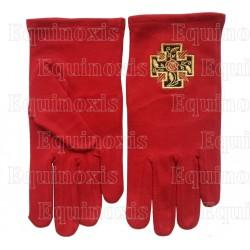 Gants maçonniques coton brodés rouges – REAA – 18ème degré – Croix potencée – Taille M